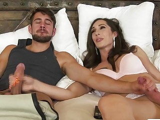 Hot Curvy TS Melanie Brooks gets anal by her Stepson